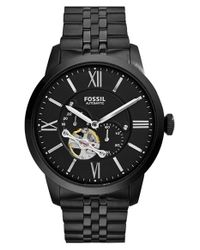 Fossil | Black 'townsman' Automatic Bracelet Watch for Men | Lyst