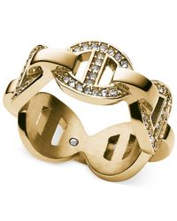 Michael Kors - Metallic Gold-Tone Pavé Link Ring - Lyst