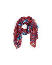 Tory Burch - Red Mixed Ocelot Print Scarf - Lyst