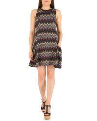 Izabel London Purple Knitted Swing Dress With Chevron Print