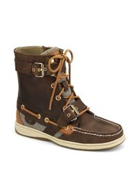 Sperry Top-Sider Brown Leather Boat Shoe Ankle Boots