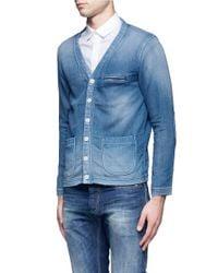 FDMTL Blue Faded Knit Cardigan for men