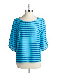 Calvin Klein | Blue Striped Blouse | Lyst