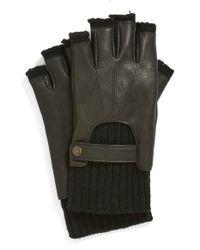 John Varvatos Black Fingerless Driving Gloves for men