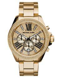 MICHAEL Michael Kors | Metallic Michael Kors 'wren' Pave Dial Chronograph Bracelet Watch | Lyst