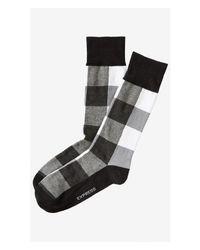 Express Black Tonal Buffalo Check Dress Socks for men