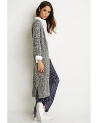Forever 21 - Gray Marled Knit Midi Cardigan - Lyst
