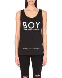 BOY London | King's Road Cotton-jersey Vest, Men's, Size: S, White On Black | Lyst