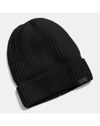 COACH - Black Cashmere Knit Ribbed Beanie - Lyst
