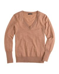 J.Crew - Brown Merino Wool V-neck Sweater - Lyst