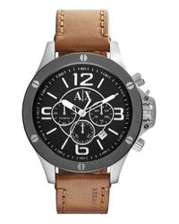 Armani Exchange - Brown Chronograph Leather Strap Watch for Men - Lyst