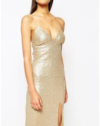 Club L - Red Tie Back Sequin Maxi Dress With Thigh Split - Lyst