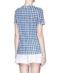 Tory Burch Blue 'connie' Grid Print Pima Cotton T-shirt