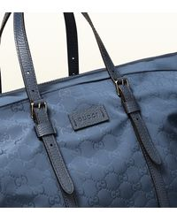 Gucci - Blue Nylon Ssima Light Duffle Bag - Lyst