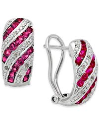 Macy's | Metallic Ruby (1 Ct. T.w.) And Diamond Accent Omega Earrings In Sterling Silver | Lyst