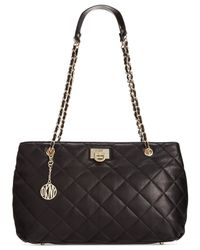 DKNY - Black Gansevoort Quilted Nappa Leather Shopper - Lyst