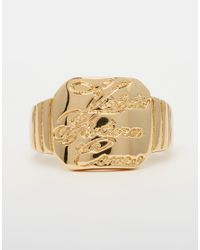 ASOS | Metallic Engraved Signet Ring for Men | Lyst