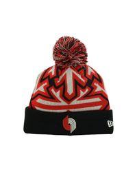KTZ - Black Portland Trail Blazers Glowflake Pom Knit Hat for Men - Lyst