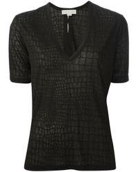 Stella McCartney Black Crocodile Skin Print Tshirt