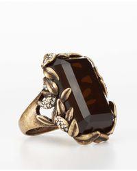 Ann Taylor Metallic Botanical Stone Cocktail Ring