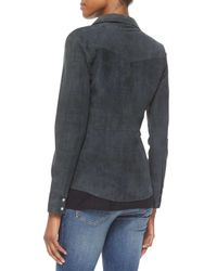 Haute Hippie - Gray Western Suede Snap-front Shirt - Lyst