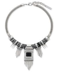 Vince Camuto | Metallic Silver-Tone Glass Stone And Chain Fringe Frontal Necklace | Lyst