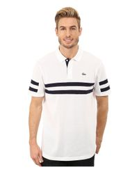 Lacoste | White Sport Golf Short Sleeve Engraved Sleeve And Chest Stripe Polo for Men | Lyst