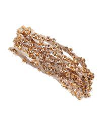 Nakamol | Metallic Rhinestone Ribbon Wrap Bracelet Cream | Lyst