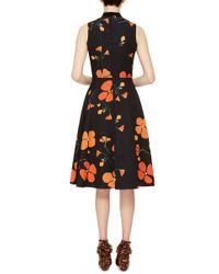 Rodarte - Black Printed Poppy Wool Blend Sleeveless Dress - Lyst