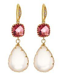 Indulgems - Pink Crystal & Rose Quartz Drop Earrings - Lyst