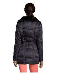 80c52748b Lyst - Vince Camuto Navy Quilted Faux Fur Collar Hooded Down Jacket ...