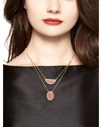 kate spade new york - Pink Sugarcoated Stone Double Pendant - Lyst