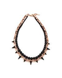 Joomi Lim Metallic Midnight Rose Long Chain Spike Necklace Roseblack