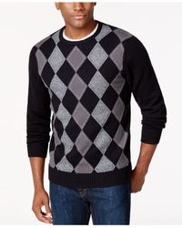 Geoffrey Beene | Black Crew-neck Argyle Sweater for Men | Lyst