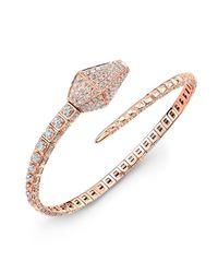 Anne Sisteron - Pink 18kt Rose Gold Diamond Snake Cuff - Lyst