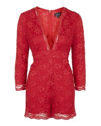 TOPSHOP | Red Lace Playsuit | Lyst