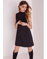 Lyst - Missguided High Neck Sleeveless Scuba Shift Dress Black in Black 3b89bfeb4