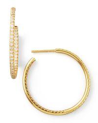 Roberto Coin Metallic 30mm Yellow Gold Diamond Hoop Earrings