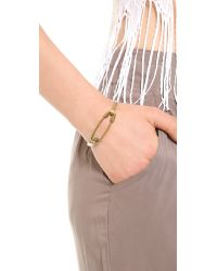 Giles & Brother Metallic Safety Pin Id Cuff Brass