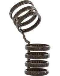 Repossi Metallic Black Gold Black Diamond Sevenrow Berbere Ring