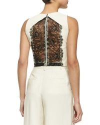 Alice + Olivia - Black Alexis Cropped Leather/lace Top - Lyst