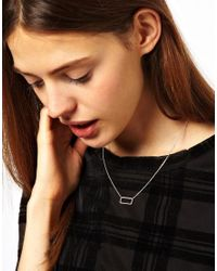 ASOS - Metallic Open Rectangle Necklace - Lyst