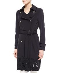 ESCADA - Black Floral Embroidered Trench Coat - Lyst