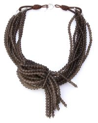 Brunello Cucinelli | Gray Multi Strand Necklace | Lyst