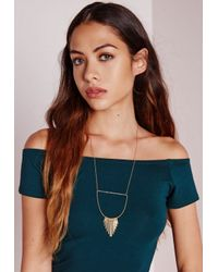 Missguided - Metallic Cut Out Tassel Necklace - Lyst