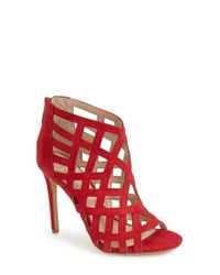 Vince Camuto - Red 'tatianna' Caged Peep Toe Bootie - Lyst