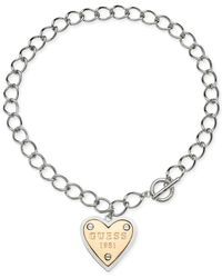 Guess - Metallic Twotone Logo Heart Pendant Toggle Necklace - Lyst