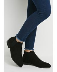 Forever 21 | Black Faux Suede Chelsea Boots | Lyst