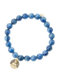 Sydney Evan | Metallic 8Mm Kyanite Beaded Bracelet With 14K Gold/Diamond Sitting Buddha Charm (Made To Order) | Lyst