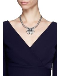 Kenneth Jay Lane | Metallic Crystal Pendant Chain Necklace | Lyst